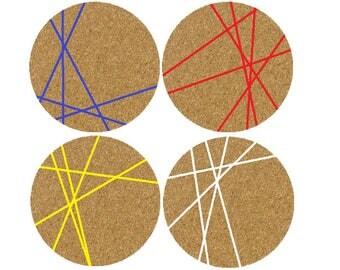 Geometric Line Coasters x 4 - Hand Printed