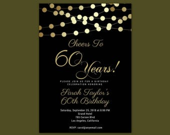 60th birthday invite etsy cheers to 60 years any agewording 60th birthday invitation shh its stopboris