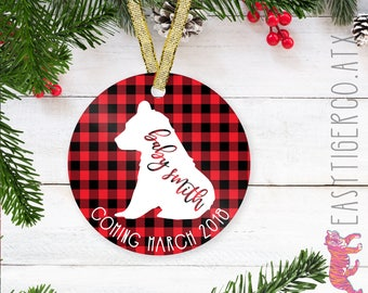 Custom Baby Glass Ornament | Christmas Name Ornament  | Holiday Gift | New Baby | Expecting gift | Pregnant | Baby Bear