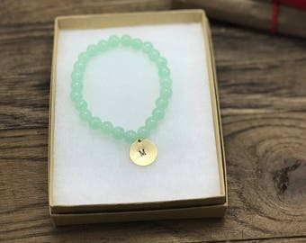 Custom Initial Bracelet | Personalized Initial Bracelet, Initial Charm Bracelet, Green Bead Bracelet, Beaded Charm Bracelet Initial Bracelet