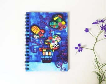 Original gift Blank journal Cute gift for her Color flower  print White pen Notebook sketchbook   Blank Writing Notebook black paper