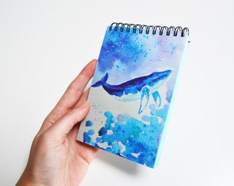 Blank book Journal diary Blue planner Notebook sketchbook Whale art sea fish print Cute notepad Original light blue gift Ocean journal