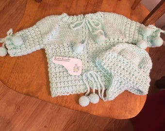 Crochet green baby sweater and hat set
