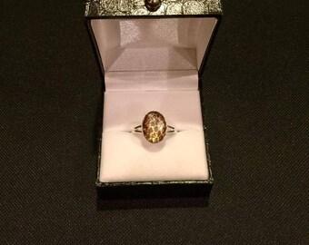 Snake skin set in a sterling silver adjustable ring