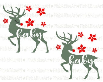 Baby Christmas SVG Deer Cut Files Silhouette Cameo Svg for Cricut and Vinyl File cutting Digital cuts file DXF Png Pdf Eps