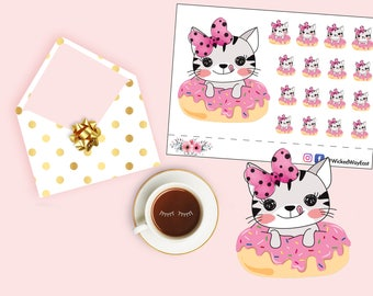 Kitty Cat Planner Stickers, Cute Kitty Donut Stickers, Pink Bow Kitty Sticker, Yummy Sticker, Scrapbook Stickers, Planner Accessory