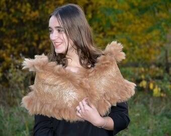 Beige wool scarf Felted fur wrap winter neckwarmer fashion wool collar felted unique shawl felted wool shawl alpaca wool scarf fur stole