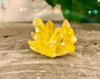 Yellow Crystal Quartz - Rainbow Titanium - Bismuth Specimen - Aura Crystal Cluster 36g