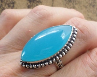 RING 925 sterling silver and CHALCEDONY (BA135)