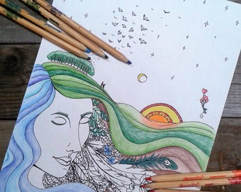 colouring page, adult colouring, mother nature, printable colouring page