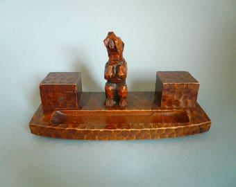 1940s wooden scottie dog inkwell