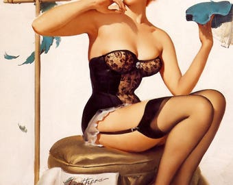Deco retro pin-up format A2 vintage poster. Gil Elvgren.