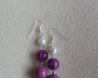 Purple shades dangle earrings