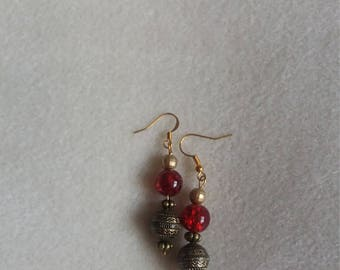 Red glass n Antique bead