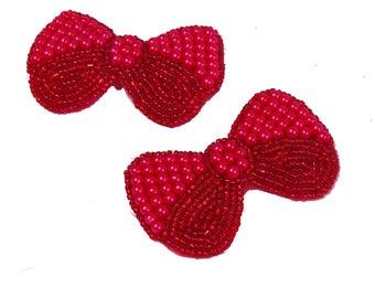 2 Bow Pins, Hot Pink, Neon, Pin-on, Bead, Magenta