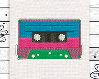 Record tape 90s embroidery Discount 10% Machine embroidery design 4 sizes INSTANT DOWNLOAD EE5044