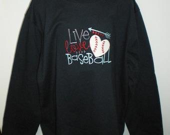 Live Love Baseball Boy or Girls Long or Short Sleeve Onesie or T-shirt
