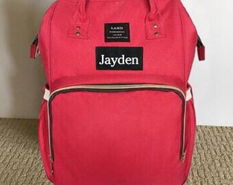 LAND Diaper Backpack Diaper Bag Backpack Nursing Bag - Red