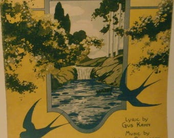 Beside A Babbling Brook, sheet music by Gus Kahn, Walter Donaldson, 1923, fair shape, Vintage, Sung by George Olson