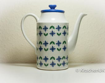 Midwinter Roselle Coffee Pot with Lid Vintage 1960's/70's Retro Blue and Green Floral Pattern Kitchenalia