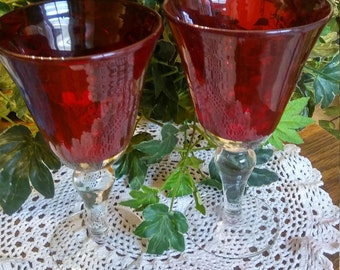 2 Dark Ruby Red wine or water Goblets..thick glass