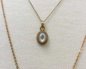 12k Yellow Gold Mother of Pearl and Diamond Pendant Necklace