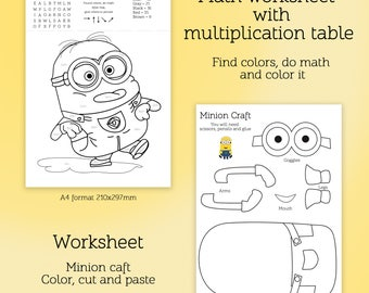 Spring Cut And Paste Worksheets Excel Multiplication Table  Etsy 4 Times Table Worksheet Printable Pdf with Clock Worksheets 2nd Grade Excel Math Worksheet With Multiplication Table And Cut And Paste Activity  Worksheet Activity Color By Initial Consonants Worksheets