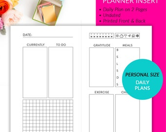 PRINTED Personal Size Undated Daily Plan 2 Pages Planner Inserts