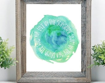 Live in the Sunshine Swim in the Sea Drink the Wild Air Blue Watercolor Emerson Quote Printable Beach Art Gallery Wall Instant Download