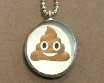 Poop Emoji hand soldered pendant