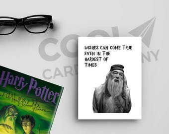 Harry Potter Birthday Card, Dumbledore Quotes, Happiness Can be Found, Hogwarts Alumni Card, Wizards and Wands, Magic Birthday Party, Muggle