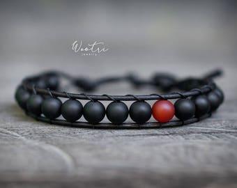 Leather Wrap Bracelet, Single Wrap Matte Black Onyx Bracelet with Red Agate, Black Bracelet, Leather Bracelet