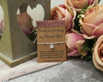 Thank You Flower Girl Bracelet, Thank You Bridesmaid,Bridal Party Gift,Delicate Bracelet,Flower Girl Gift,Wedding Party,Flower Girl Bracelet