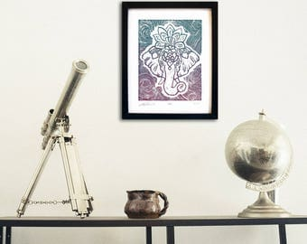 "Original Lino Print, ""GANESHA"", Handmade, Limited Edition Artwork"