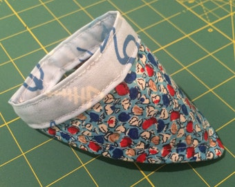 Reversible Kitty Handkerchief - Blue and Red Floral/Brown Texture Pattern