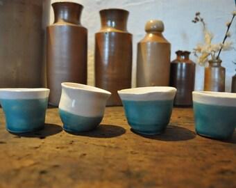 Quirky handmade ceramic espresso cups