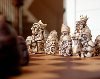 Antiqued Hand-Cast Resin Chess Set