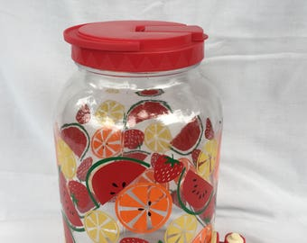 Vintage 1 Gallon Drink Dispenser with Orange,Lemon,Water Melon &  Strawberry, Sun Tea Jar