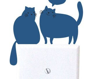 Cats - wall decal, light switch decal, wall decor
