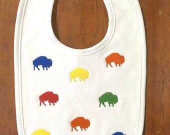 Buffalo Bib- Baby Bib- Embroidered Bib- New Baby Gift- Baby Shower Gift- Drool Bib- Girl Bib- Boy Bib- Personalized Bib