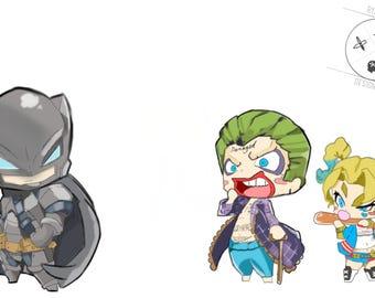 Batman Joker Harley Quinn A4 Print