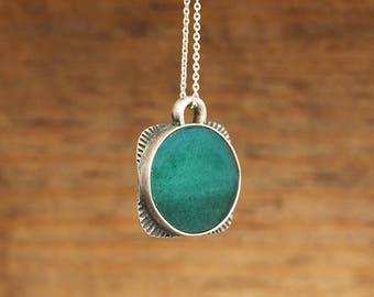 """Kaia"" necklace. Silver 950 with Venturia. Handmade single piece."