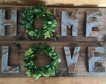 Home sign, love sign, home wreath sign, love wreath sign, wreath sign