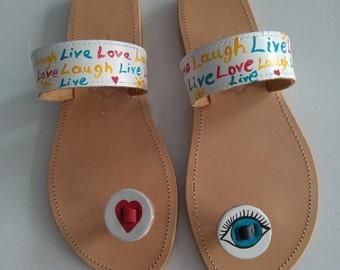 Handpainted live love laugh greek sandals