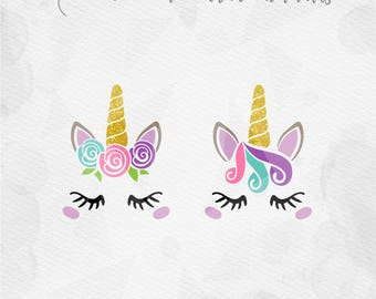 Unicorn face SVG Unicorn SVG Unicorn head SVG Rose Unicorn horn Birthday - Cricut Silhouette - pdf png svg - girls birthday MLY2017025