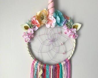 Unicorn dreamcatcher, gold, dreamcatcher, unicorn, magical, unicorn decor, unicorn wall hanging, unicorn theme, unicorn decoration