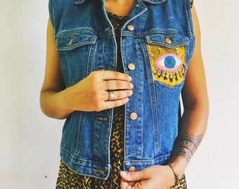 I SEE YOU - Hand Painted Vintage Jean Vest!