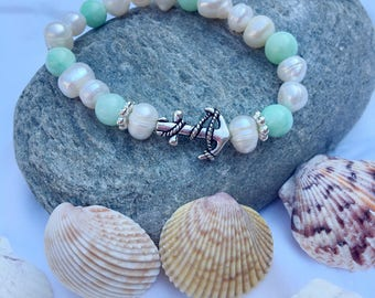 Pearl, Aqua Aventurine and Silver Anchor Bracelet