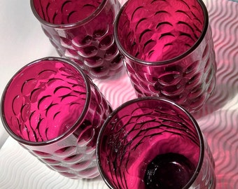 Set of Four Ruby Glass, Anchor Hocking, Bubble  Juice Glass