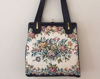1960's Vintage Tapestry and Soft Black Leather Handbag/Delill Made in West Germany